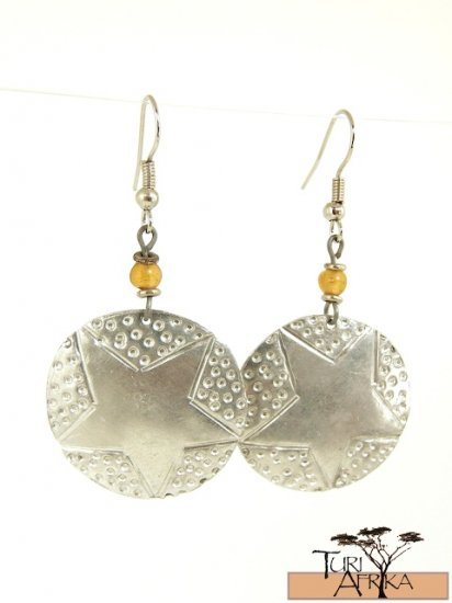 Product ID: 104     Small Aluminum Disk (Star Pattern) Earrings w/ Yellow Glass Bead