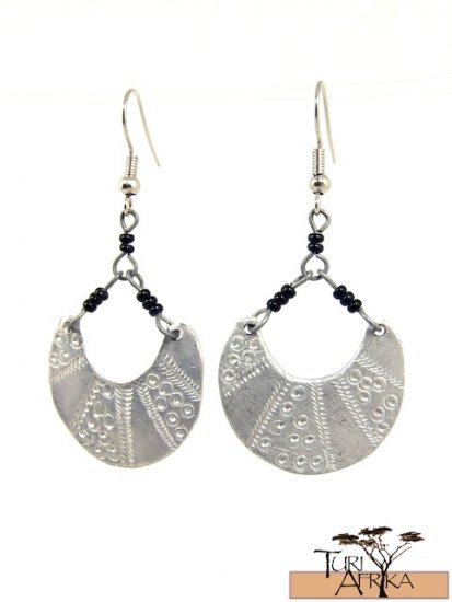 "Product ID: 106     Etched Aluminum ""Basket Shaped"" Earrings  w/ Black beads"