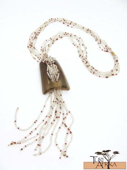 Product ID: 112     Cow Horn Shape Necklace  W/ beaded Strands (Multiple Colors)