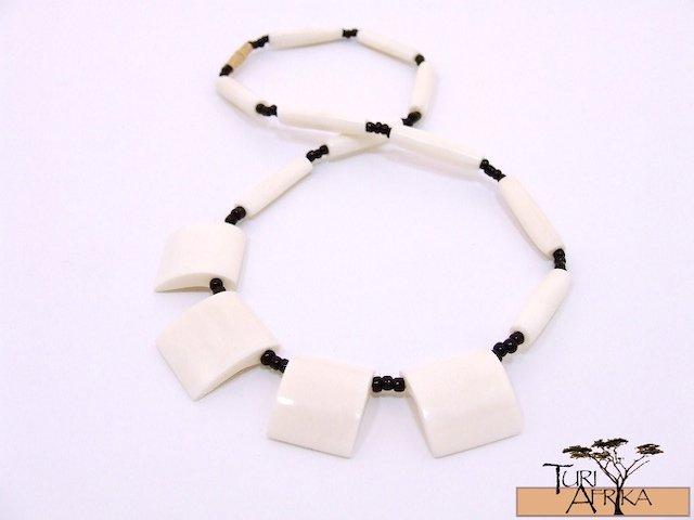 Product ID: 114     White Square Bone Necklace  w White Long Bone beads w/ Black Beads