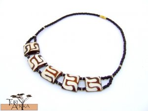 Product ID: 116     Painted Bone Necklace  and Black Beads