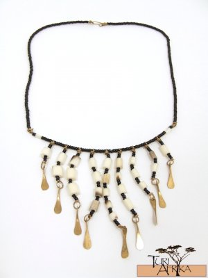 Product ID: 117     Porcupine Quill Bead Necklace , W/ Brass Hanging and Black Beads