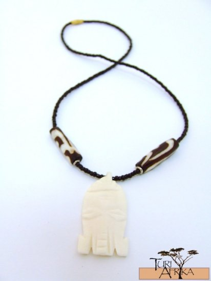 Product ID: 120     Carved White Bone Necklace  Masks w/ Painted Bone and Black Beads