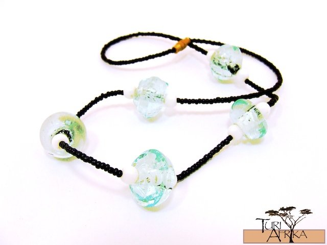 Product ID: 122     Clear Glass Beads Necklace  W/ Bubbles, White Beads, Black Beads