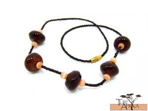 Product ID: 123     Brown Glass Beads Necklace  W/ Tan (almost tigers eye) and Black Beads