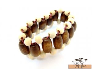 Product ID: 127     Brown and Tan Wooden Bead Braccelet