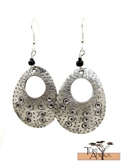 Product ID: 135 Etched Medium Aluminum Egg Shape Earrings  W Hole W Black Beads