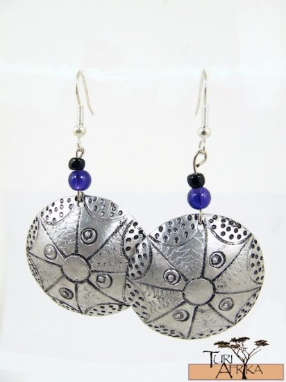 Product ID: 137     Etched Medium Aluminum Disk Earrings  W Blue Glass and Black Beads