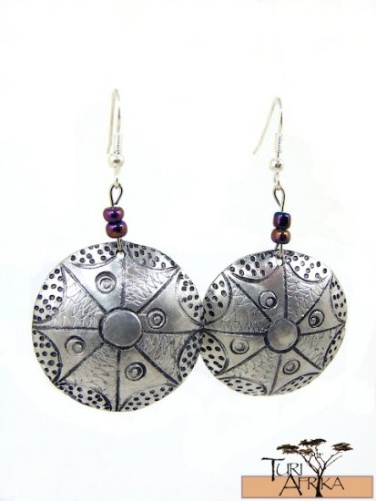 Product ID: 141     Etched Medium Aluminum Disk Earrings  W 2 Mettalic Bluish Beads
