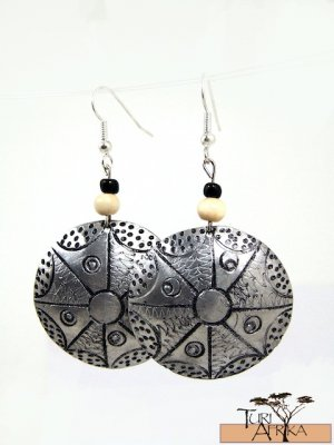 Product ID: 146     Etched Medium Aluminum Disk Earrings  W 1 Light Wooden and 1 Black Bead