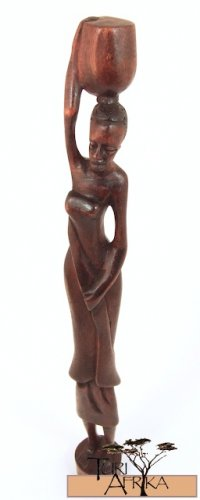 Product ID: 156     Wooden Woman Carrying Water Sculpture