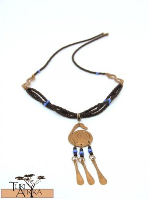 Product ID: 173     Small Brass Swirl Necklace W/ Brass hanging and Blue and Black Beads