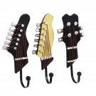Pack of 3 Hooks Towel Coat Wall Rack Hangers Guitar Shape Vintage Resin D