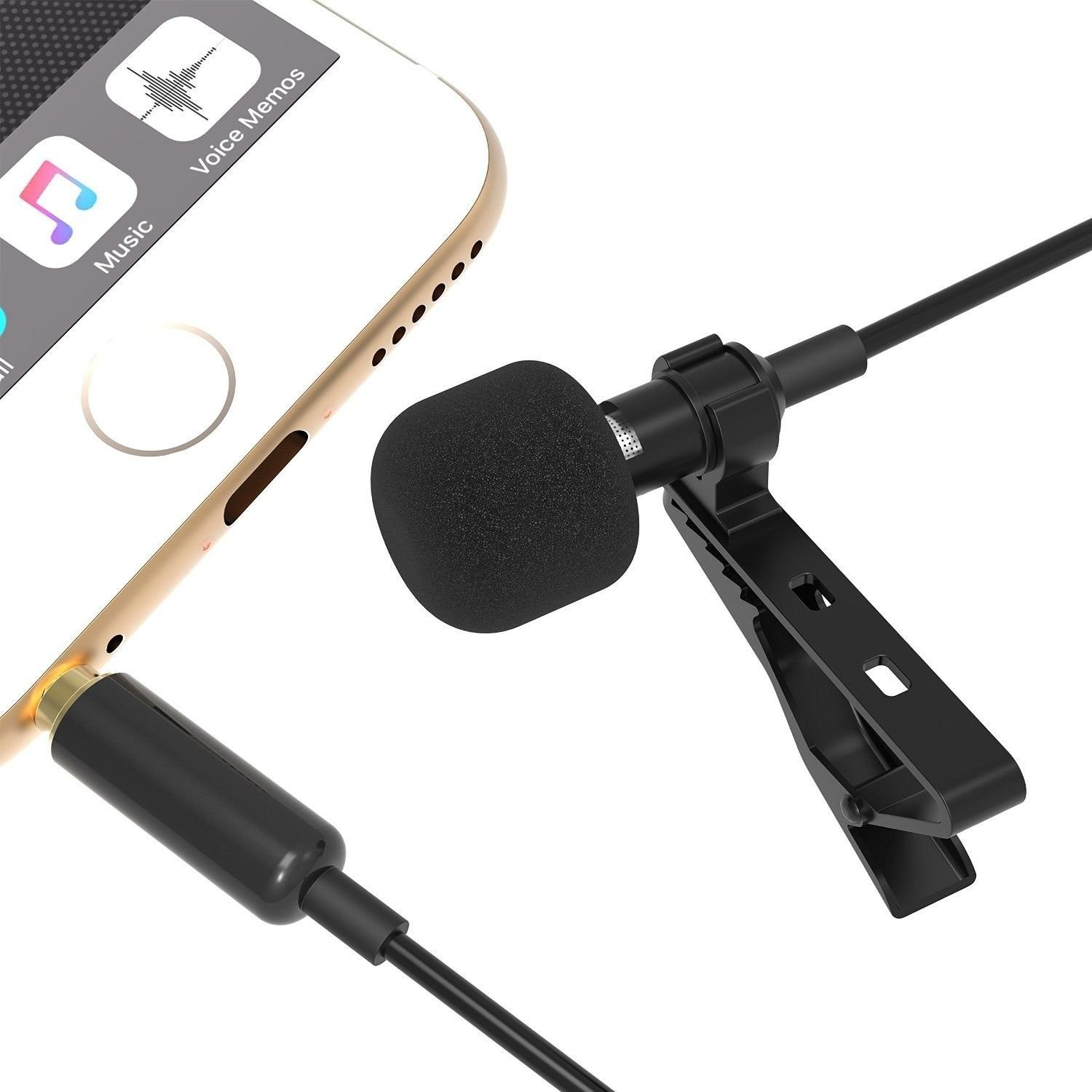 Lapel Clipon Lavalier Condenser Microphone Omni Directional for iPhone Broadcast