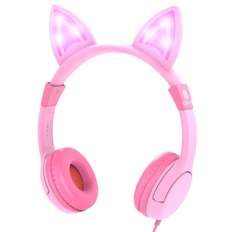 Kids Pink Headphones Over Ear LED Backlight Safe Wired Girls