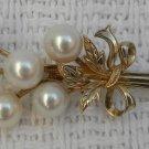 Vintage 1950's MIKOMOTO Tokyo Pearl Gold Sterling Silver Floral Spray Brooch