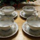 4 Vintage Bareuther Waldsassen Bavaria Porcelain Cup Saucer Set Germany