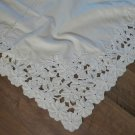 """Antique Floral Embroidery Cutwork Beige Cotton Bedspread Tablecloth 68"""" x 108"""""""