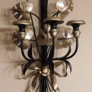 Vintage 1950s Italian Tole Black Silver Sword Leaves Wall Sconce Candle Holder