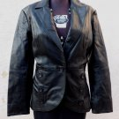 CAMI Black Soft Natural Leather Jacket Blazer sz 12 14 L Made in India New