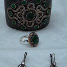 Antique Style Cuff Bracelet Earrings Ring Sterling Silver Emerald Ruby Handcraft