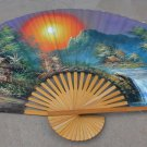 Vintage Asian Chinese Huge Hand Painted Bamboo Silk Wall Décor Fan