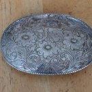 Vintage Silver Plated Belt Buckle Floral Western