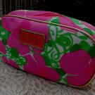 Lilly Pulitzer Cosmetic Make-Up Bag Pouch Colorful Pink Green Floral New