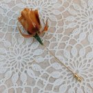 Vintage Natural Dry Lacquered Rose Stick Pin Brooch