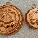 Vintage Cherry Copper Wall Hanging Mold Set of Two