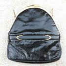 Vintage BLOCK Black Patent Leather Bag Purse Gold Tone Hardware Made in Belgium