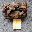 Antique Chinese Asian Japanese Wood carving Sculpture Crab Fish Plum Blossom Hat