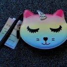 Luv Betsey Johnson Cat Coin Purse Wristlet Wallet Rainbow Unicorn Unikitty New