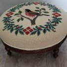 Antique Wooden Foot Stool Christmas Needlepoint Embroidery Footstool