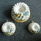 3 Italian Majolica Ceramic Pottery Mold Floral Italy Hand Painted Neiman Marcus