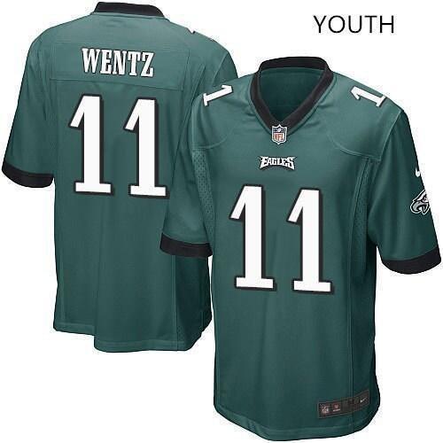 Youth kids Philadelphia Eagles #11 Carson Wentz jersey green