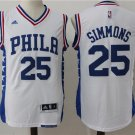 Men's Ben Simmons Jersey #25 Philadelphia 76ers Stitched Jerse White