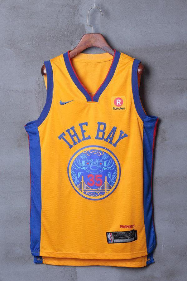 free shipping 7c2a8 d01bf Mens Golden State Warriors 35 Kevin Durant Jersey Yellow the Bay