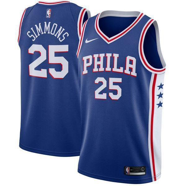 Mens  25 Ben Simmons Jersey Blue Philadelphia 76ers Fanatics