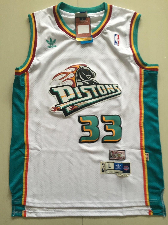 Mens  Pisons #33 Grant Hill Men's White basketball jersey