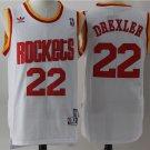 Mens Rockets #22 Clyde Drexler white stitched basketball jersey