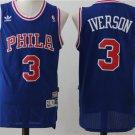 Men's Philadelphia 76ers #3 Allen Iverson Blue Basketball Jersey