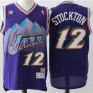 MENS Jazz #12 John Stockton purple Stitched jersey