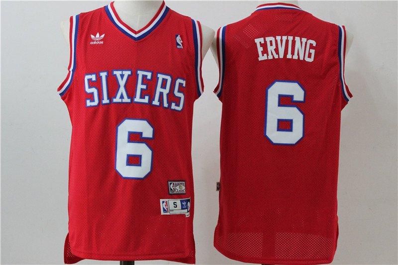 Men's Philadelphia 76ers 6 Julius Erving Red Basketball Jersey