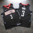 Mens  Chris Paul Jersey #3 Houston Rockets Black Playoff 2018 Swingman