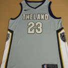 Mens  Lebron James #23 Cleveland Cavaliers Swingman Jersey City Edition Grey THE LAND
