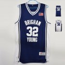 Men's MM MASMIG Jimmer Fredette #32 Brigham Young Basketball Jersey Stitched White and