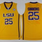 Men's LSU Tigers Ben Simmons #25 Yellow College Basketball Jerseys