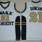 Men's Wake Forest Demon Deacons Tim Duncan #21 White College Basketball Jerseys