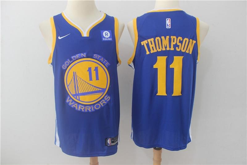 MENS WARRIORS #11 KLAY THOMPSON BLUE BASKETBALL JERSEY